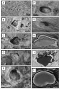 Comparazione tra morfologie carsiche terrestri (colonna a destra) e possibili forme analoghe su Marte (colonna a sinistra)