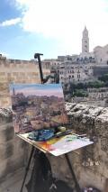 Turista tra i Sassi come un pittore